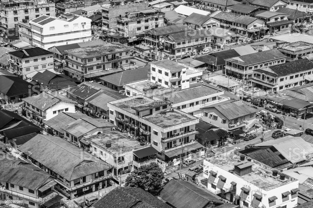 Aerial shot of a normal day in the Malaysian suburb (Petaling Jaya) of Kuala Lumpur zbiór zdjęć royalty-free