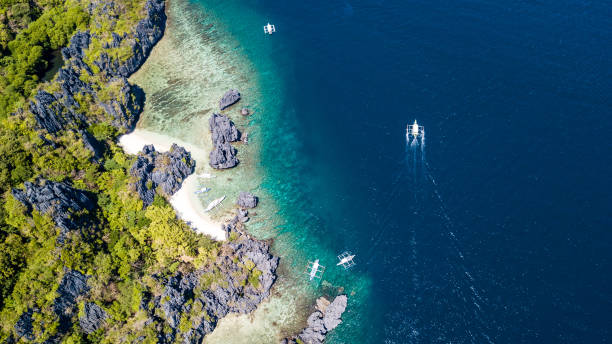 Aerial shot of a secret beach in El Nido, Palawan, Philippines