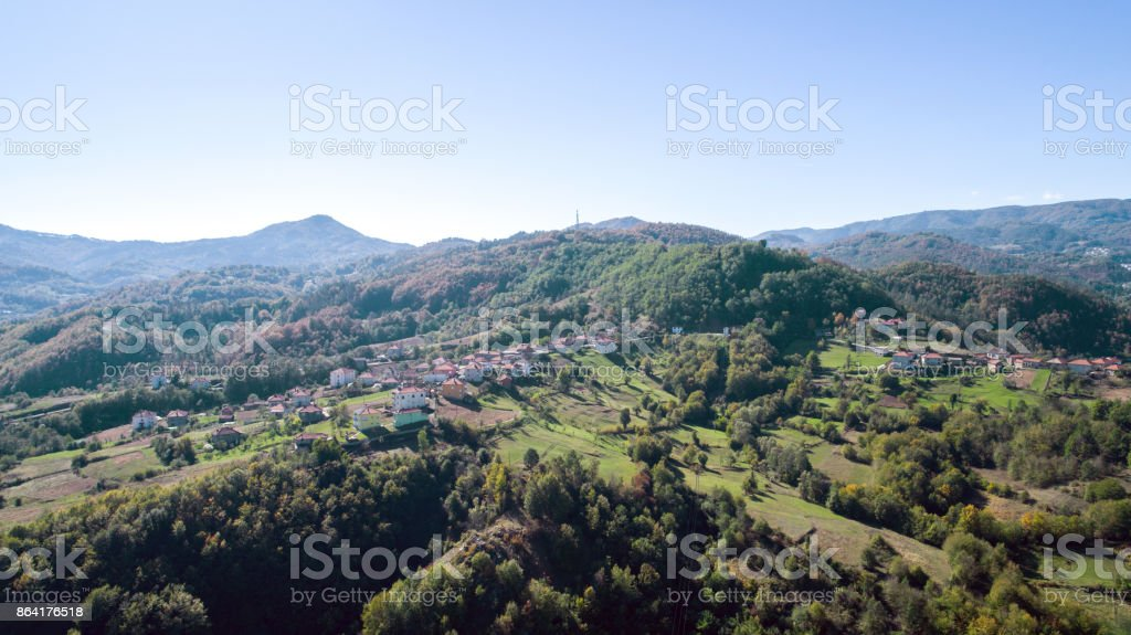 Aerial Shot Of A Small Village royalty-free stock photo