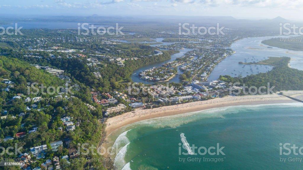 Aerial shot of beach around Noosa stock photo