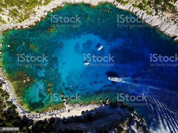 Photo of Aerial shot of beautiful blue lagoon at hot summer day with boats sailing around.