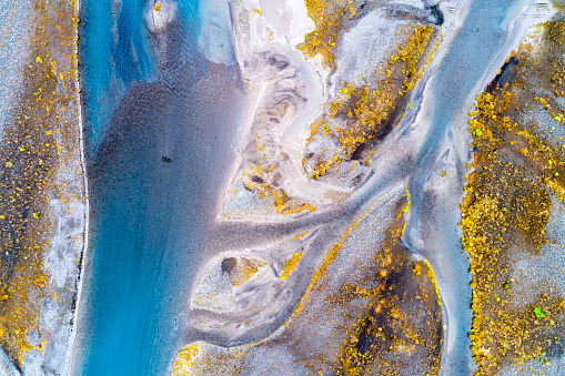 istock Aerial Shot of Braided River in South Central Iceland 1124272546