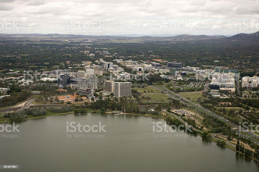 Aerial shot of Canberra CBD, Australia royalty-free stock photo