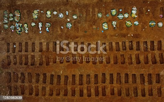 Aerial shot of cemetery created for victims of Covid-19