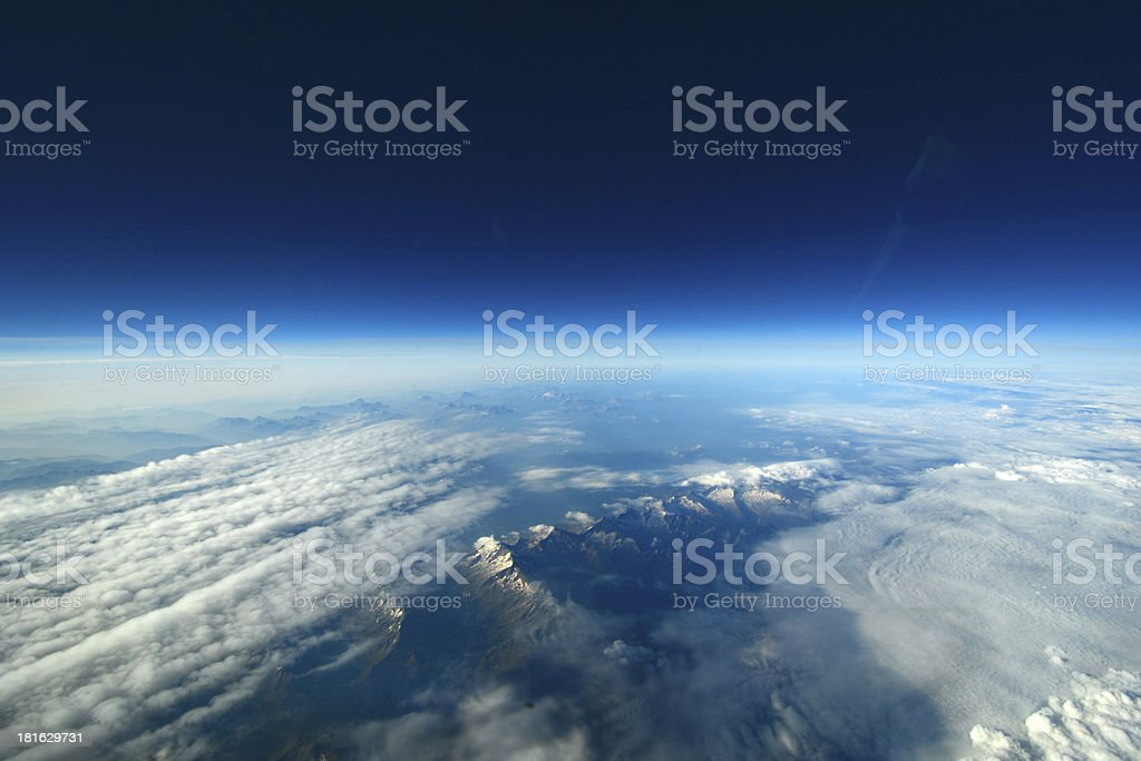 Aerial shot of cloudscape and landscape stock photo