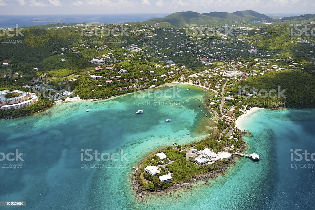 aerial shot of Coki Point in St.Thomas, US Virgin Islands stock photo