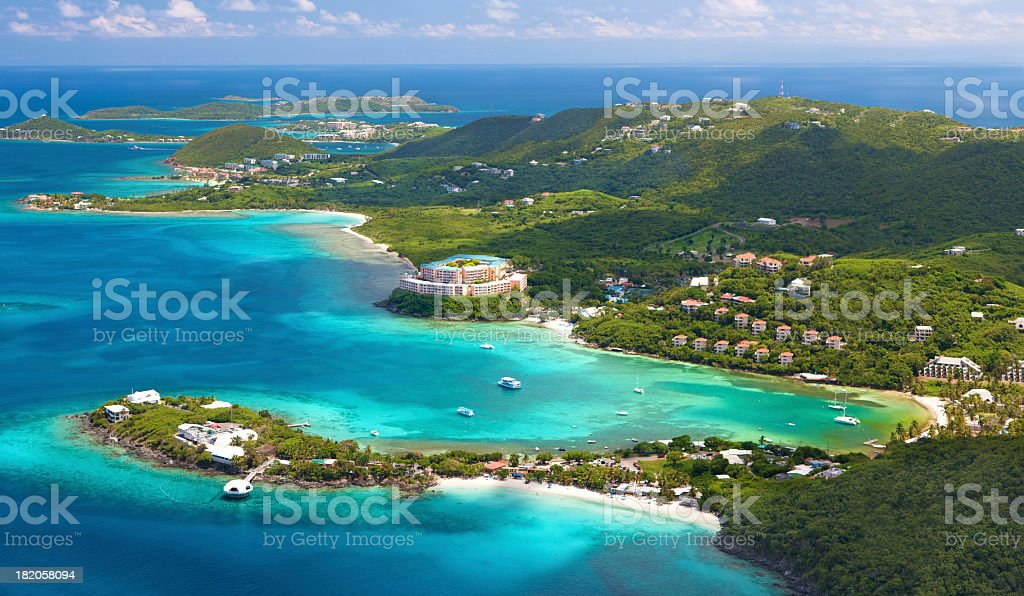 aerial shot of Coki Point, St. Thomas, US Virgin Islands stock photo