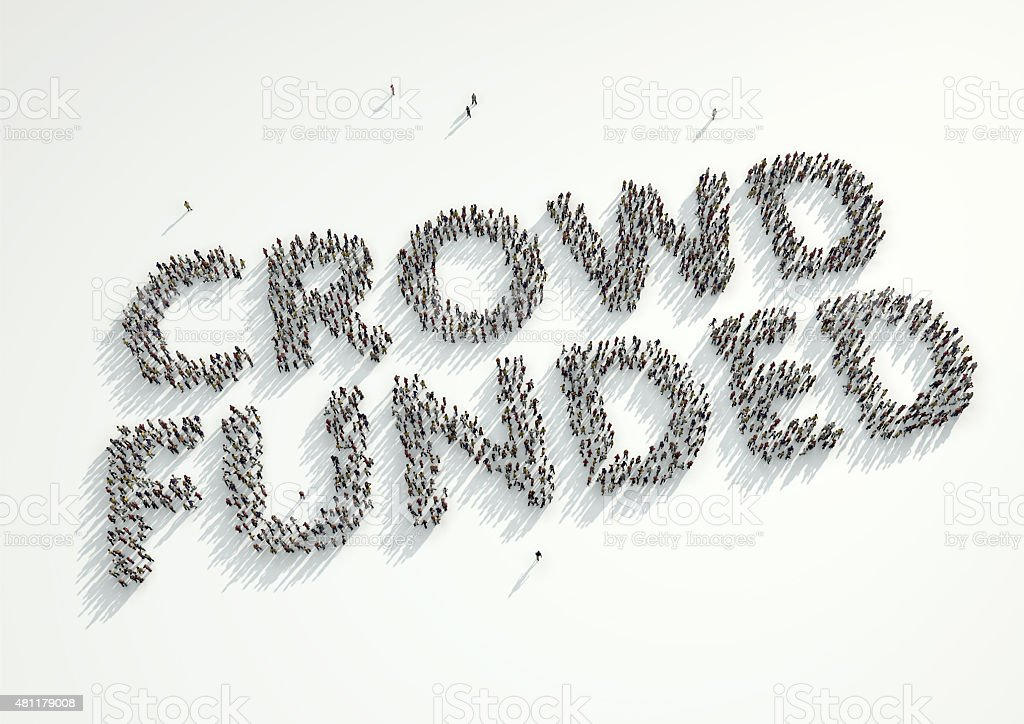 Aerial shot of crowd of people forming 'Crowd Funded' stock photo