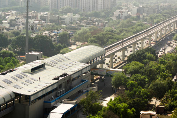 Aerial shot of delhi metro station with solar panels installed stock photo