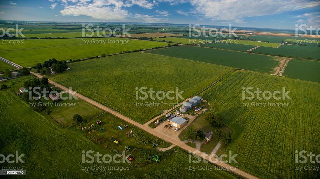 Aerial Shot of Farm stock photo