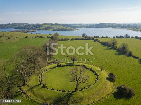 Aerial shot of Grange Stone Circle. Co. Limerick. Ireland. April 2019