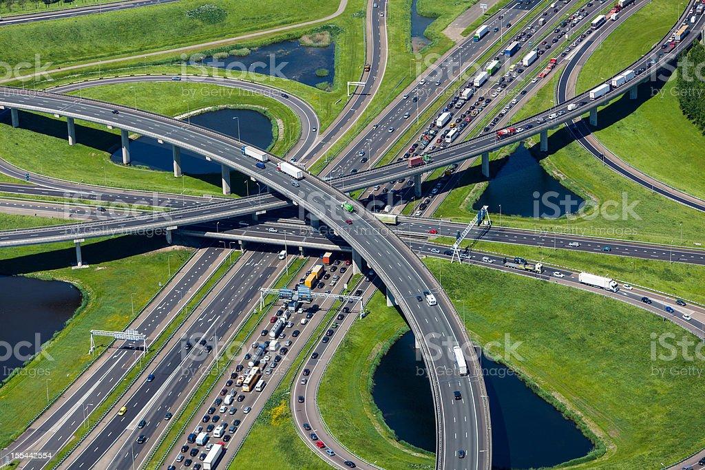 Aerial shot of highway interchange foto