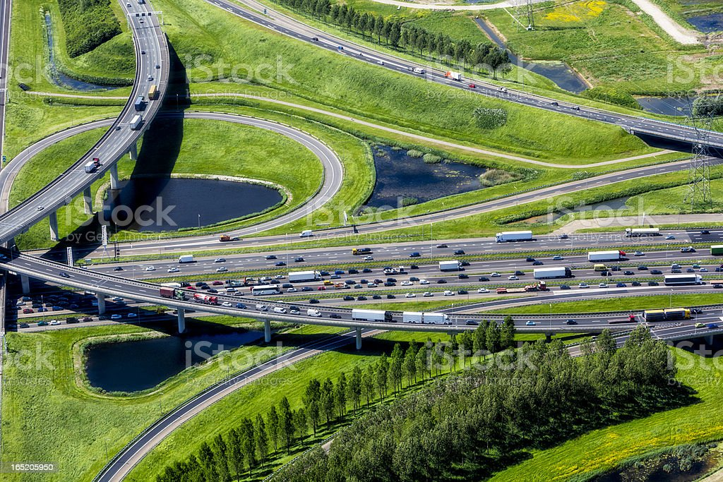 Aerial shot of highway interchange stock photo