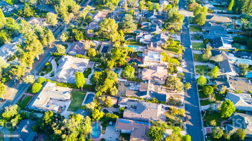 Aerial shot of Homes stock photo