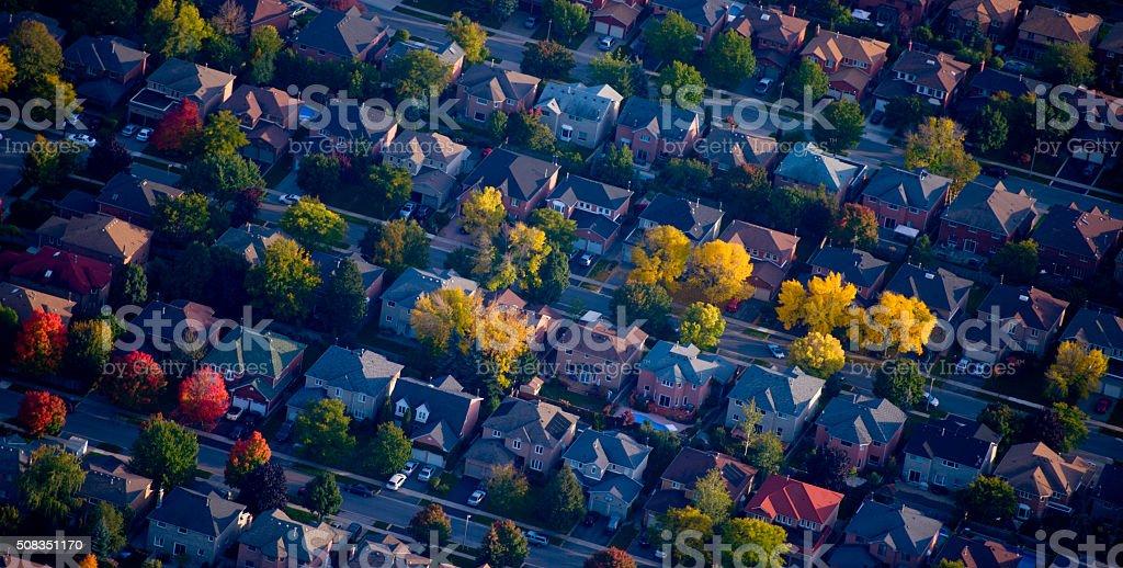 Aerial shot of housing stock photo