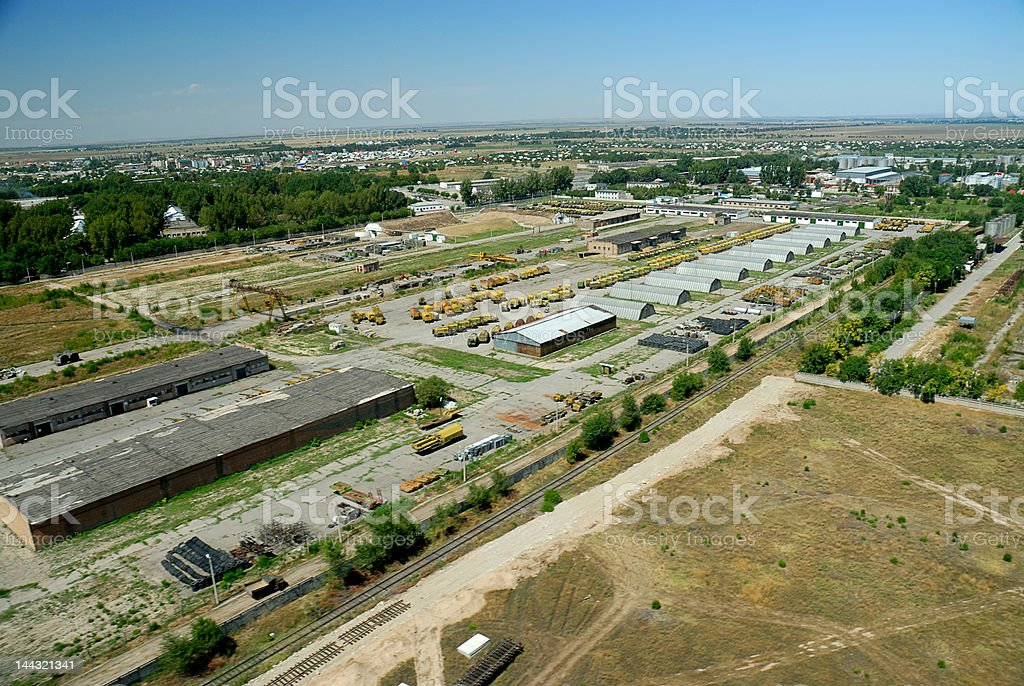 Aerial shot of industrial yard royalty-free stock photo