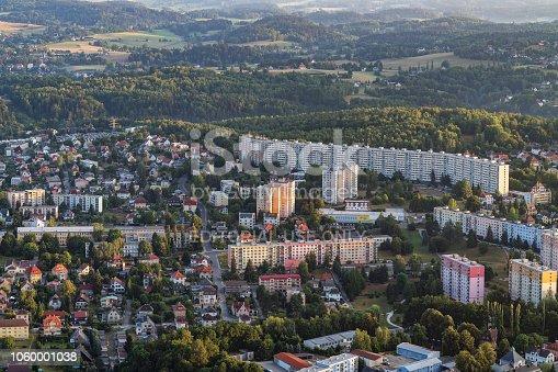 Aerial shot of the North Bohemian city of Liberec