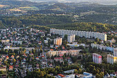 istock Aerial shot of Liberec city from hotair balloon 1060001038