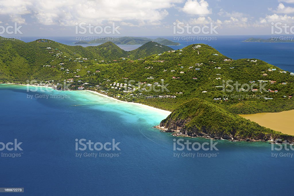 aerial shot of Long Bay in Tortola, British Virgin Islands stock photo