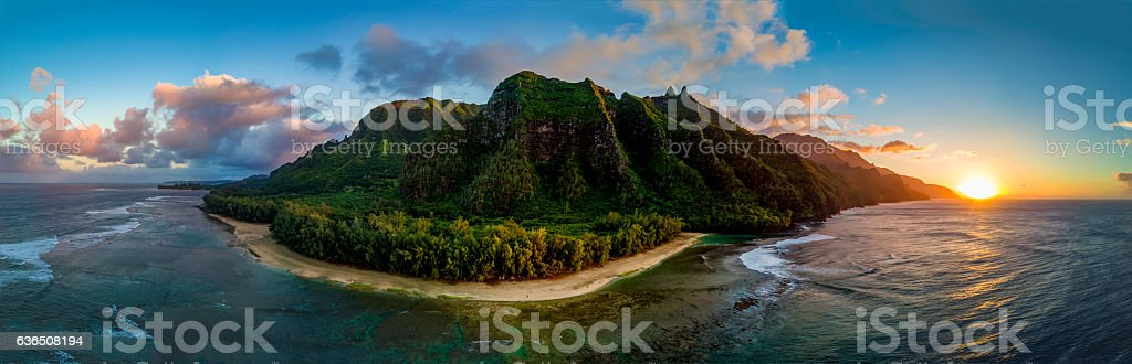 Aerial Shot of Napali Coast at Sunset (Kauai, Hawaii) stock photo