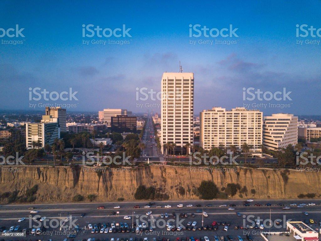 Aerial Shot of Palisades Park, Santa Monica, California from the Ocean stock photo