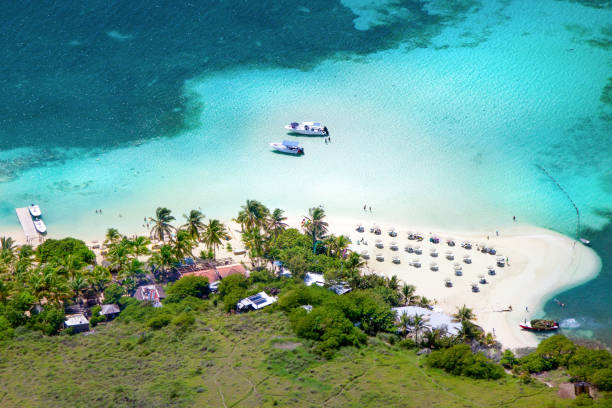 aerial shot of Pinel Island, French St.Martin, FWI