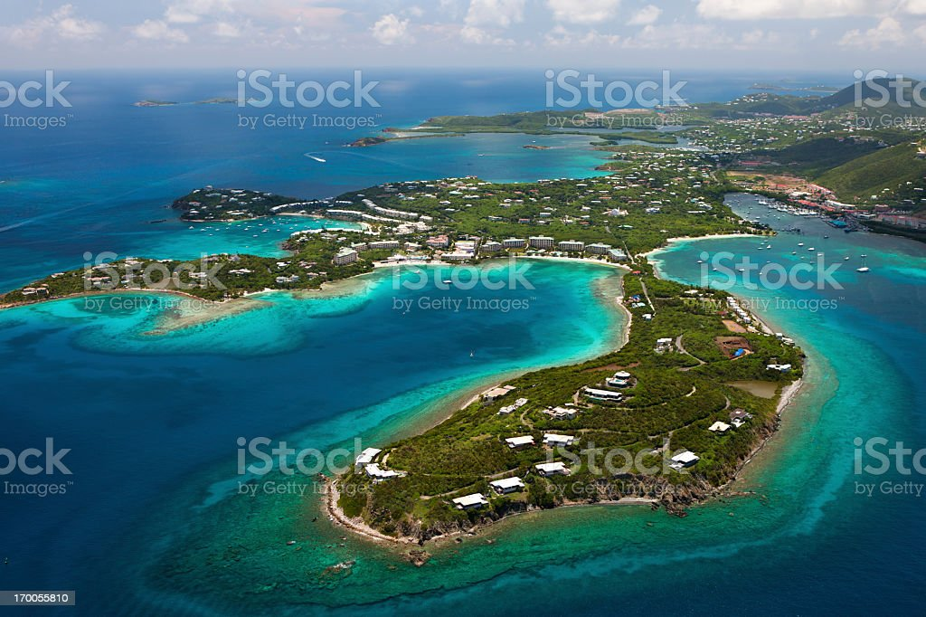 aerial shot of Red Hook area, St.Thomas, US Virgin Islands royalty-free stock photo