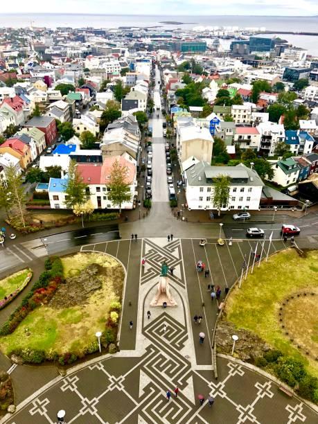 Aerial shot of Reykjavik A shot of Reykjavik from the top of Hallgrímskirkja Hallgrímskirkja church stock pictures, royalty-free photos & images