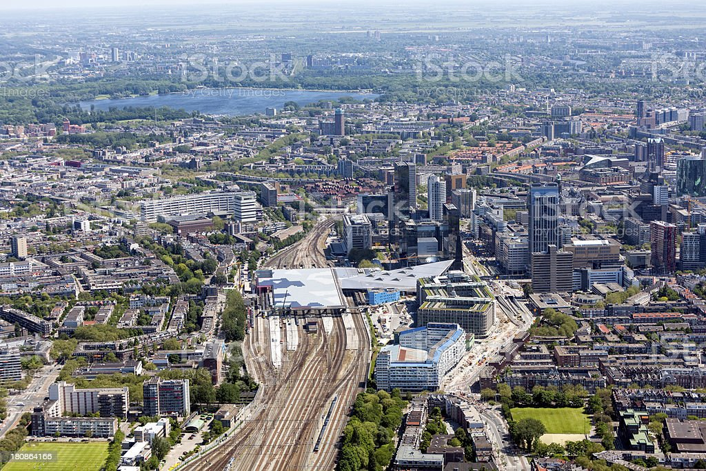 Aerial shot of Rotterdam Central Station foto