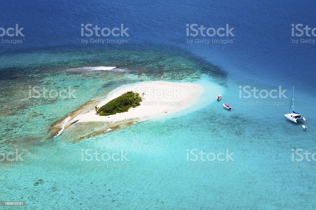 aerial shot of Sandy Spit in British Virgin Islands stock photo