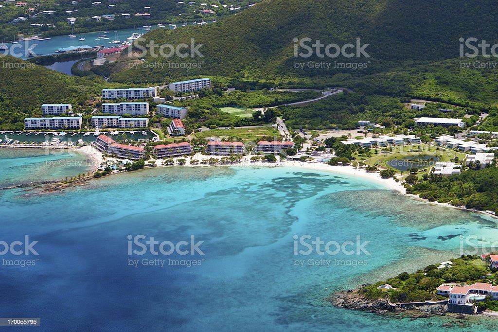 aerial shot of Sapphire Bay, St. Thomas, US Virgin Islands royalty-free stock photo