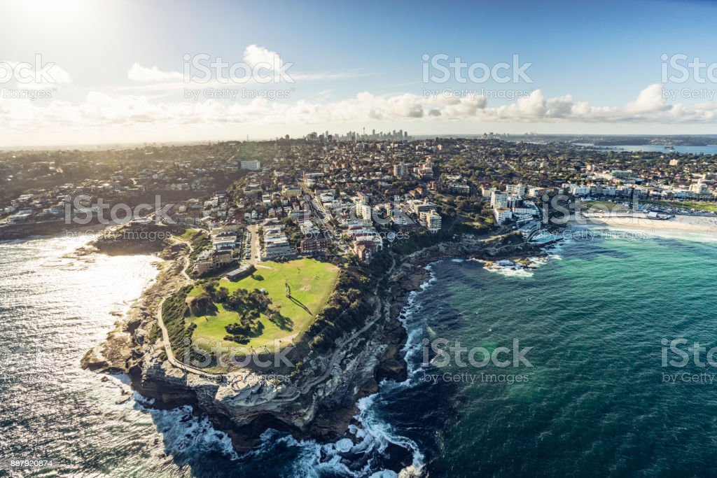 aerial shot of south head stock photo