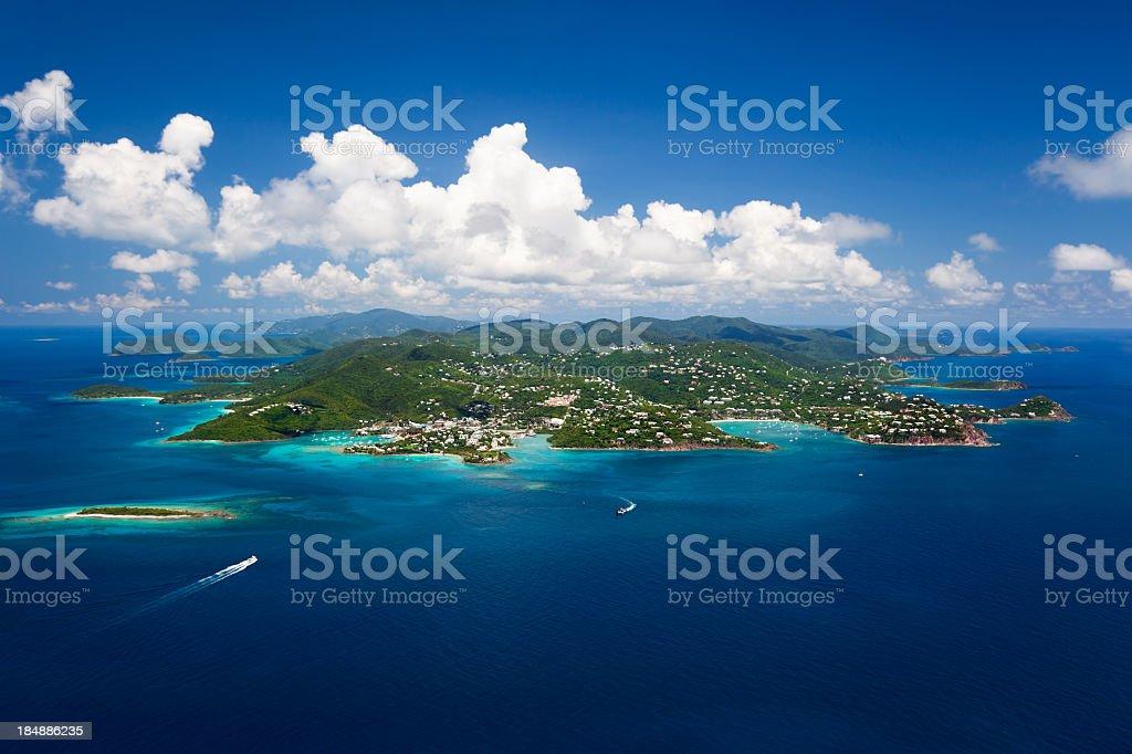 aerial shot of St. John in US Virgin Islands stock photo