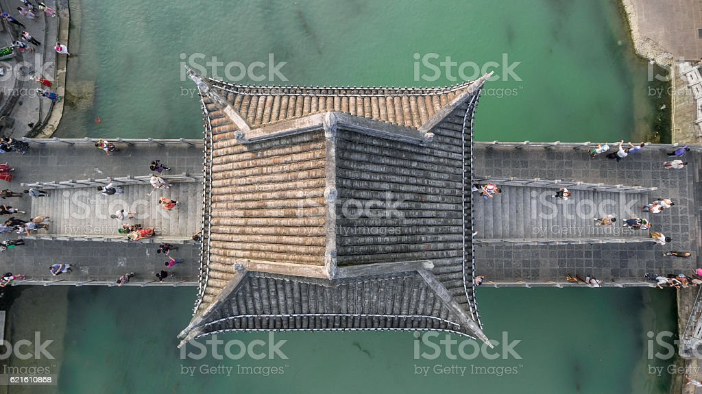 Aerial Shot of Stone Bridge in Fenghuang County stock photo