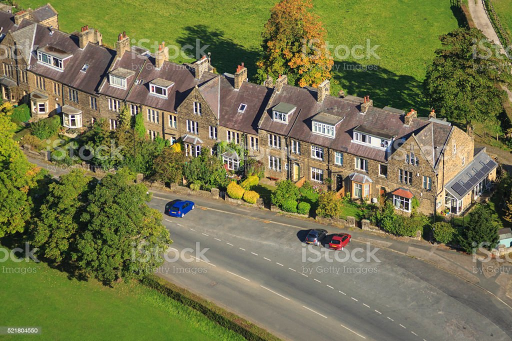 Aerial shot of street of terraced houses in Yorkshire stock photo