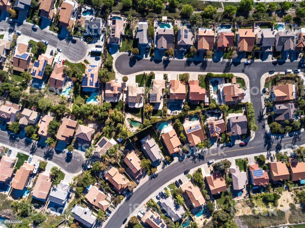 Aerial Shot of Suburban Development stock photo