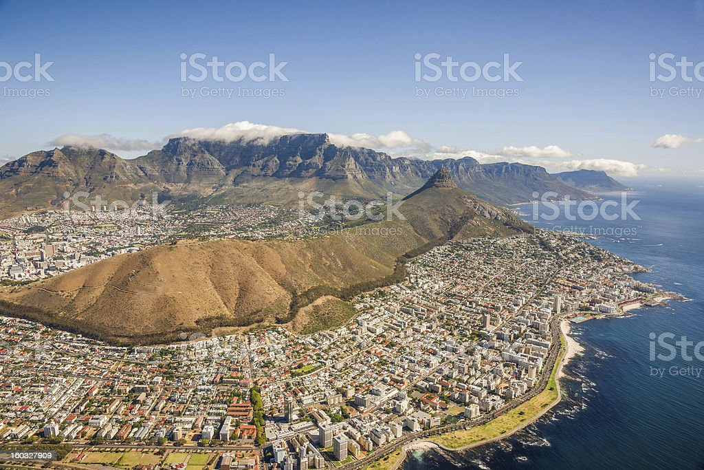 Aerial shot of Table Mountain royalty-free stock photo