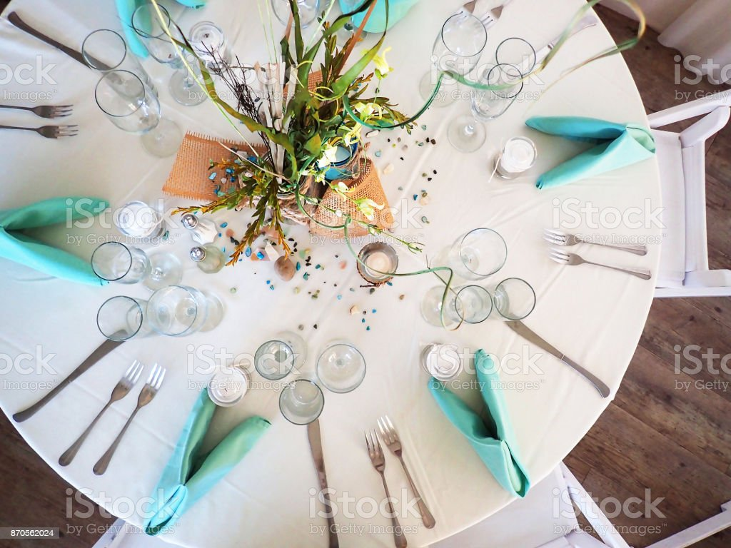 Aerial Shot of Table Set for Celebration stock photo