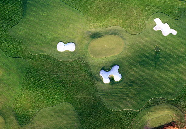 Aerial shot of the golf course stock photo