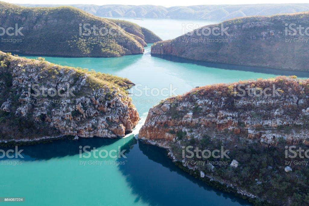 Aerial shot of the Horizontal Waterfalls, Talbot Bay, Kimberley, Australia stock photo