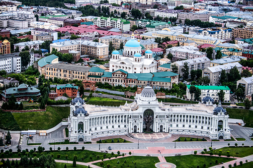Aerial shot of the Palace of Farmers in Kazan, Russia