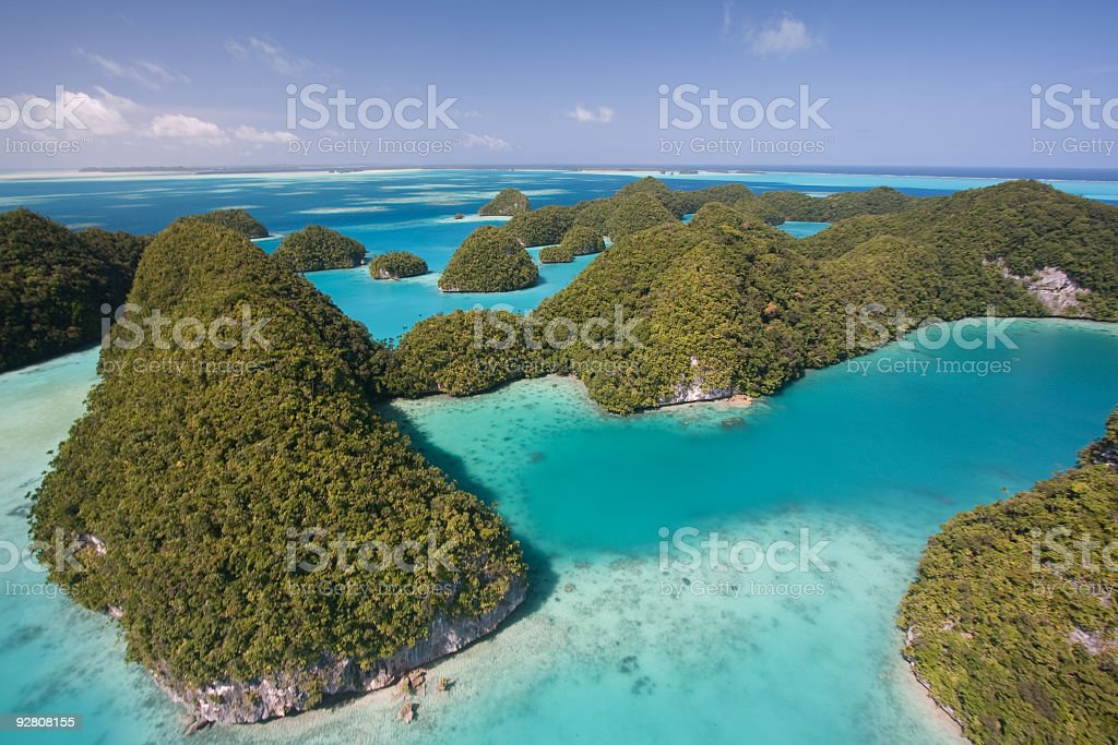 Aerial shot of the Palaus Rock Islands stock photo