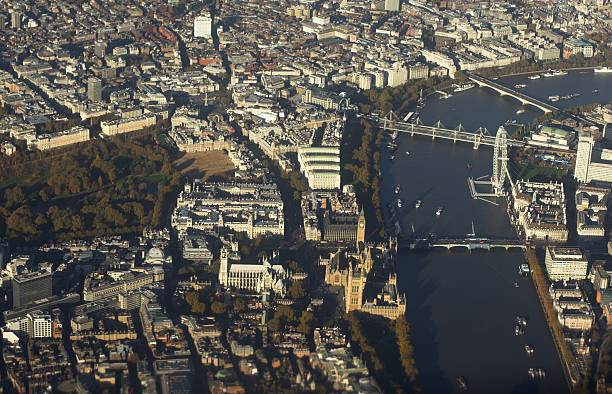 Aerial shot of the Thames and London, England stock photo