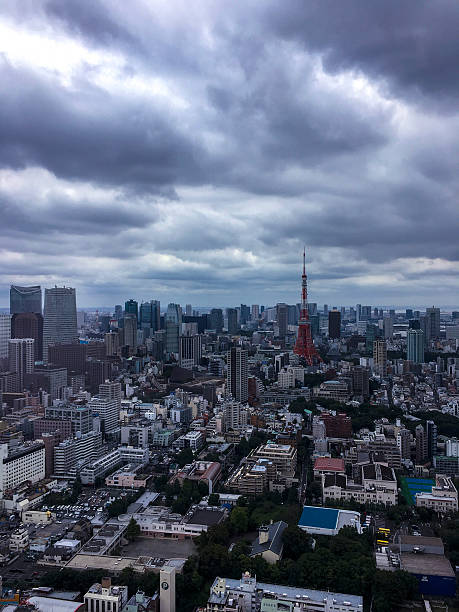 Aerial shot of the Tokyo Tower under the stormy sky ストックフォト