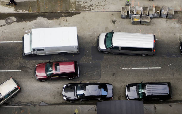Aerial shot of traffic on grimy street stock photo