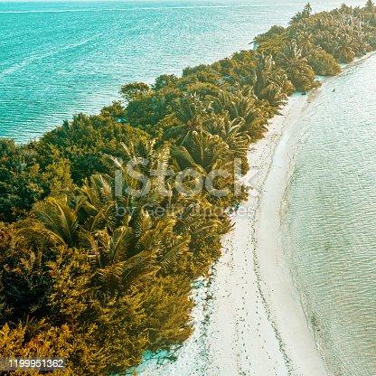 Aerial shot of tropical island, Maldives