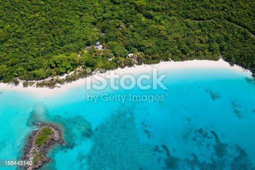 aerial shot of the most beautiful Caribbean beach - Trunk Bay, St. John, US Virgin Islands, taken from a light aircraft