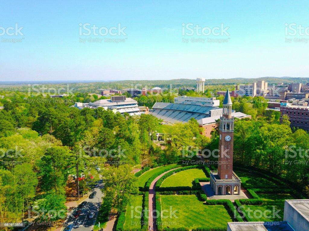 Aerial shot of UNC Campus stock photo