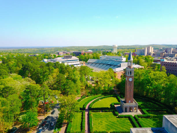 Aerial shot of UNC Campus stock photo