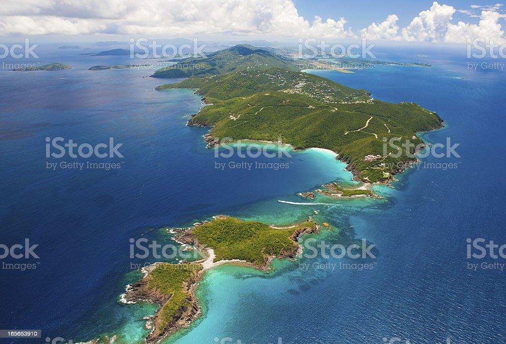 aerial shot of West End, St. Thomas, US Virgin Islands stok fotoğrafı